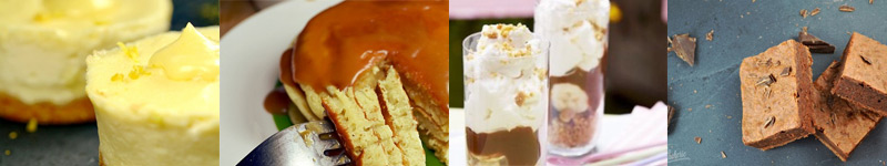 Les desserts, au choix : Cheescake au caramel au beurre salé, Trio de Pancakes, Brownie aux noix, Banoffee